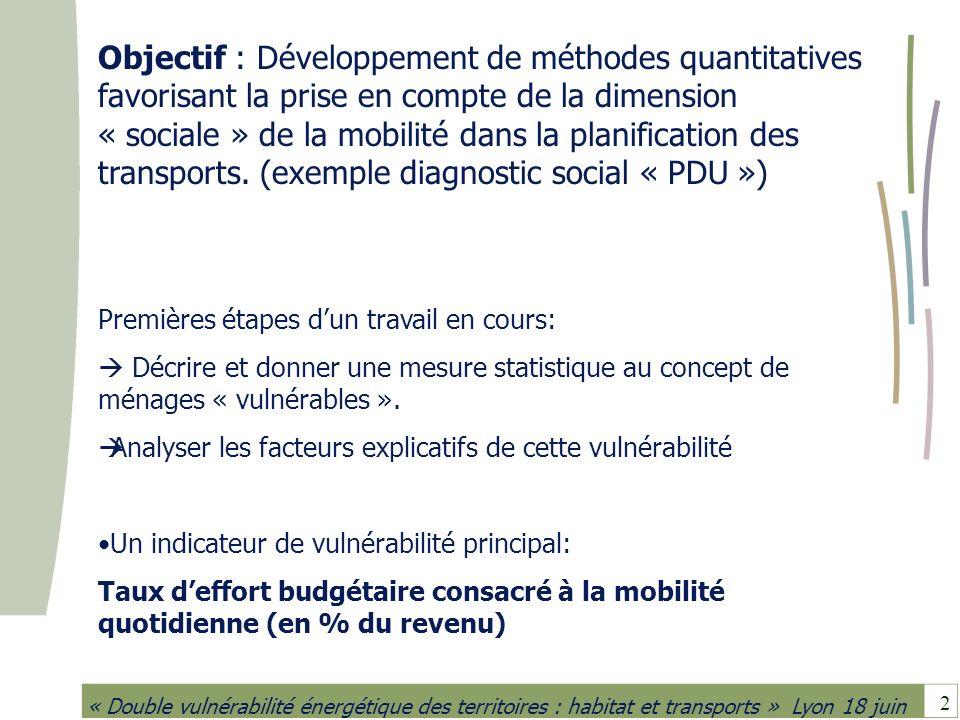 Objectif : Développement de méthodes quantitatives favorisant la prise en compte de la dimension « sociale » de la mobilité dans la planification des transports. (exemple diagnostic social « PDU »)