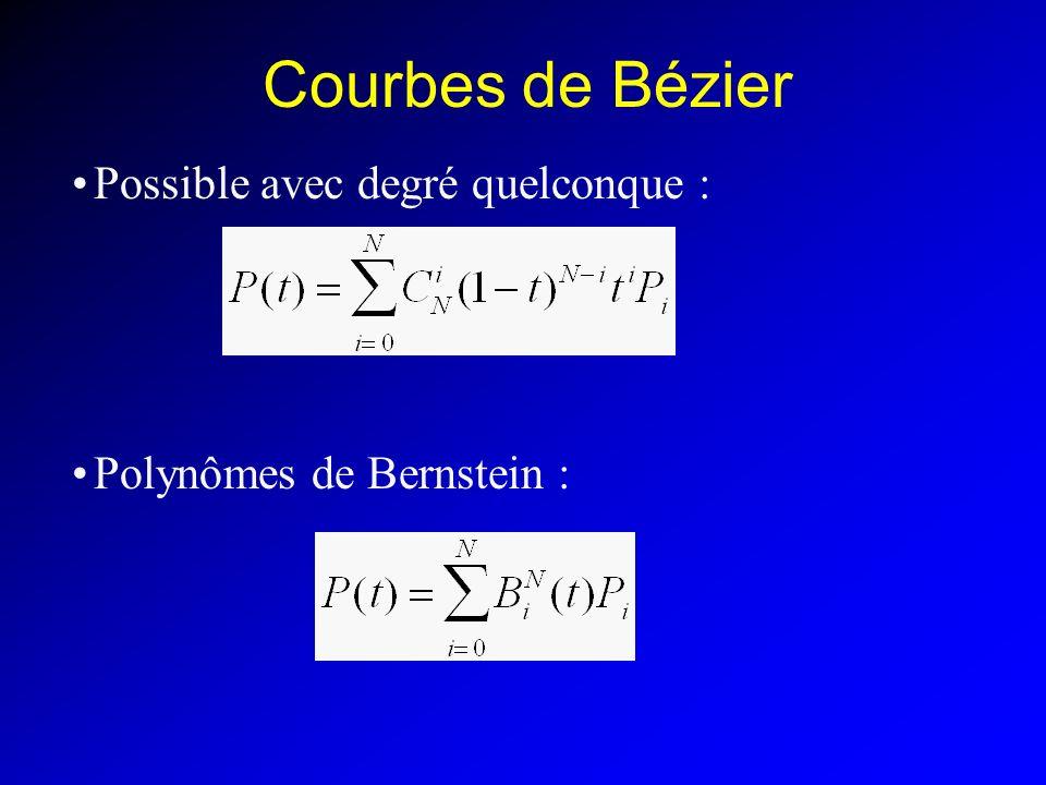 Courbes de Bézier Possible avec degré quelconque :
