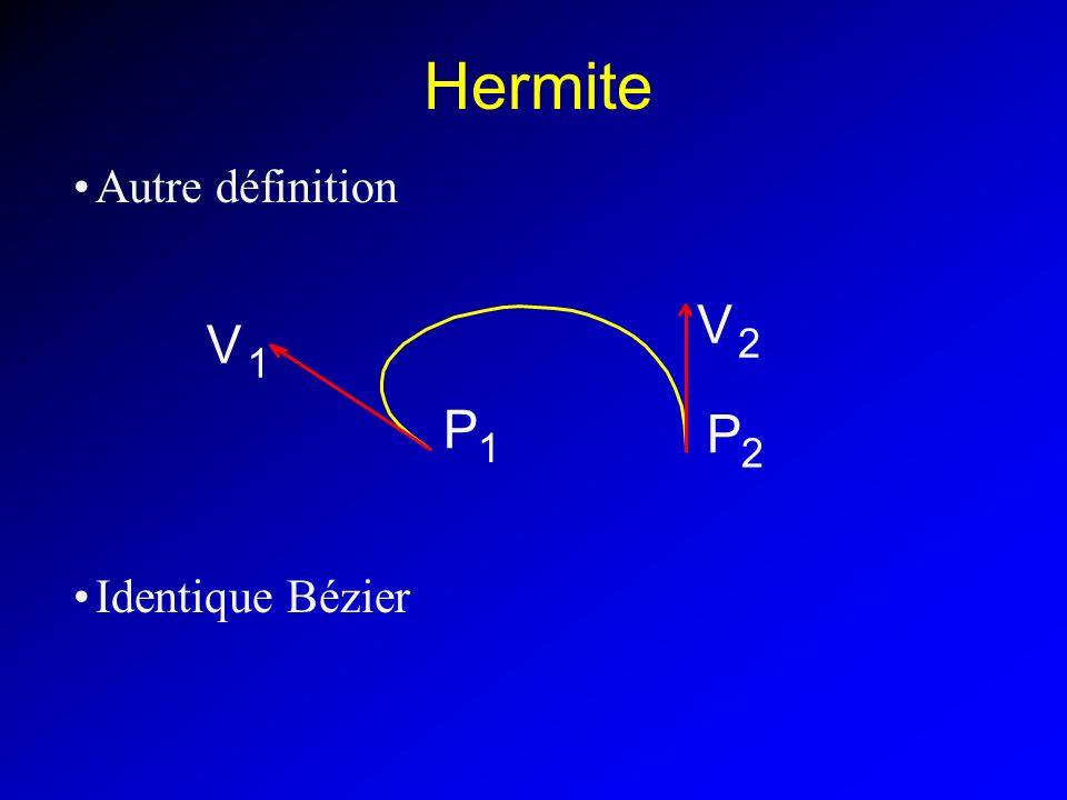 P 1 V 2 Hermite Autre définition Identique Bézier