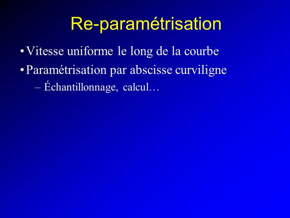 Re-paramétrisation Vitesse uniforme le long de la courbe