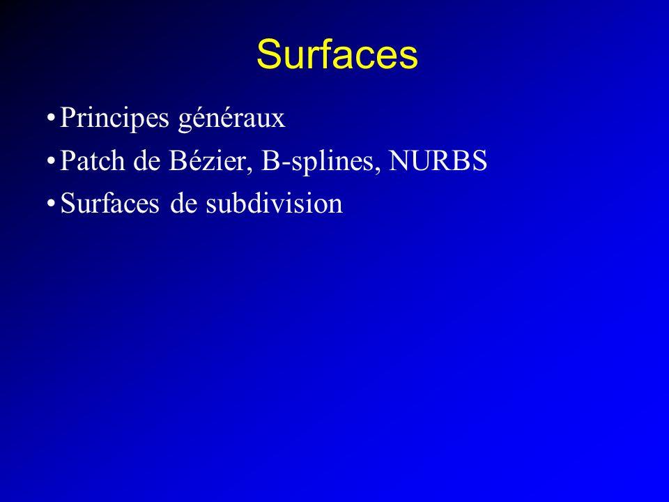 Surfaces Principes généraux Patch de Bézier, B-splines, NURBS
