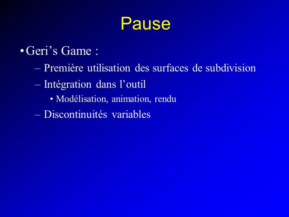 Pause Geri's Game : Première utilisation des surfaces de subdivision