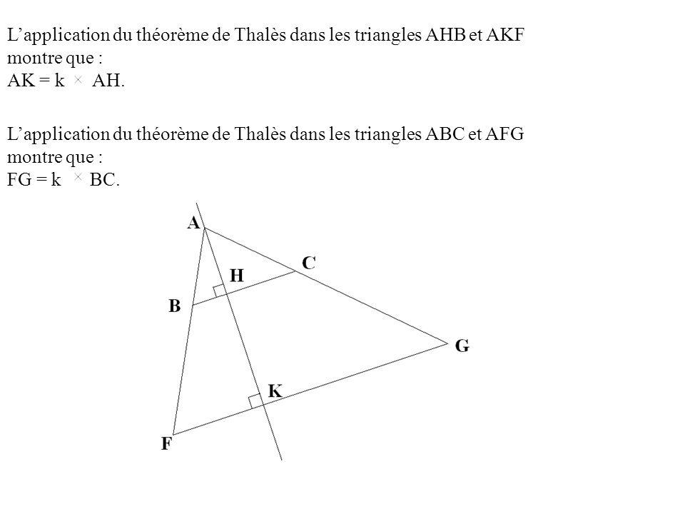 L'application du théorème de Thalès dans les triangles AHB et AKF