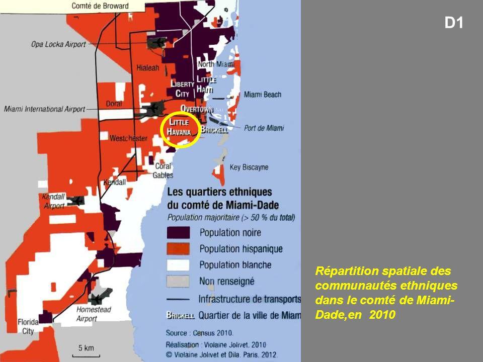 D1 Répartition spatiale des communautés ethniques dans le comté de Miami-Dade,en 2010