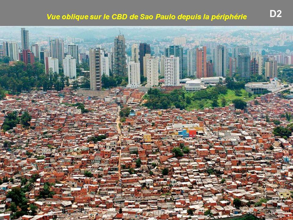 Vue oblique sur le CBD de Sao Paulo depuis la périphérie