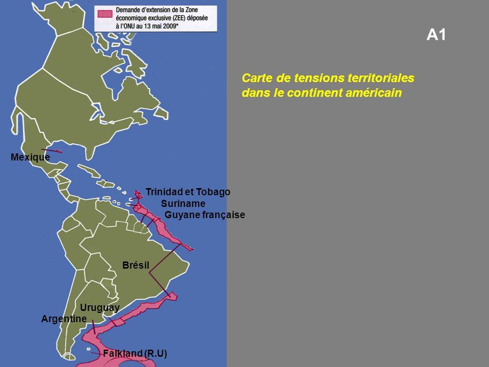 A1 Carte de tensions territoriales dans le continent américain Mexique