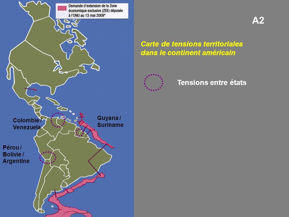 A2 Carte de tensions territoriales dans le continent américain