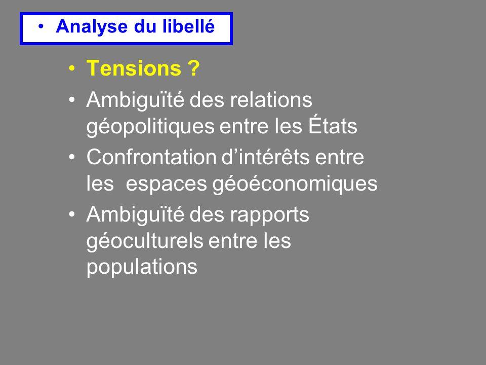 Ambiguïté des relations géopolitiques entre les États