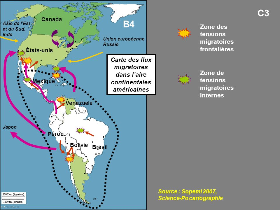 Carte des flux migratoires dans l'aire continentales américaines