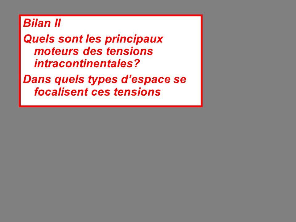 Bilan II Quels sont les principaux moteurs des tensions intracontinentales.