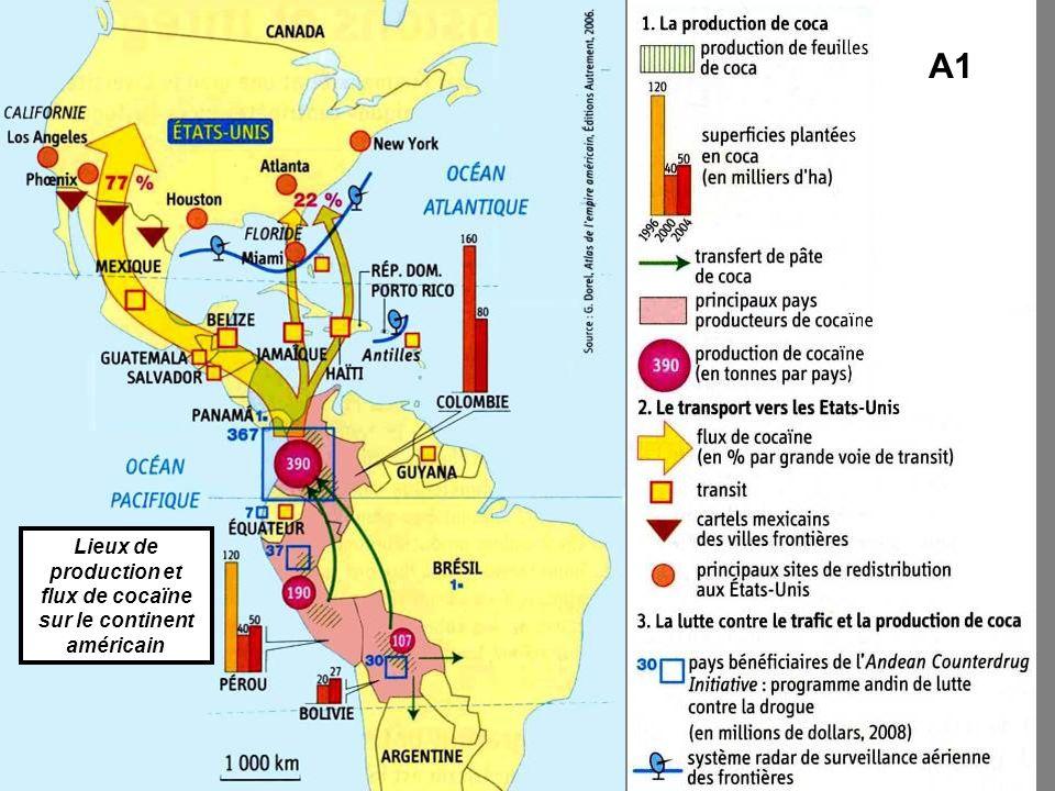 Lieux de production et flux de cocaïne sur le continent américain