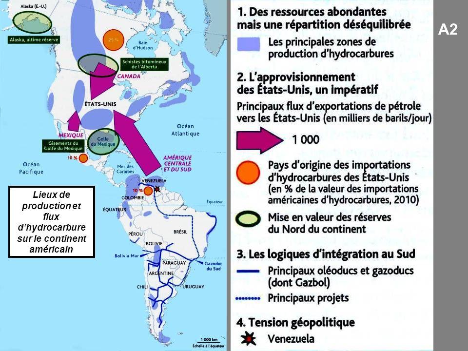 Lieux de production et flux d'hydrocarbure sur le continent américain