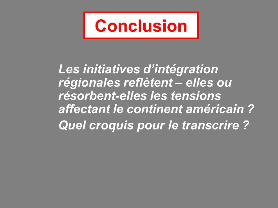 Conclusion Les initiatives d'intégration régionales reflètent – elles ou résorbent-elles les tensions affectant le continent américain