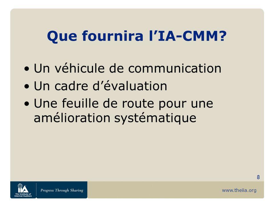 Que fournira l'IA-CMM Un véhicule de communication