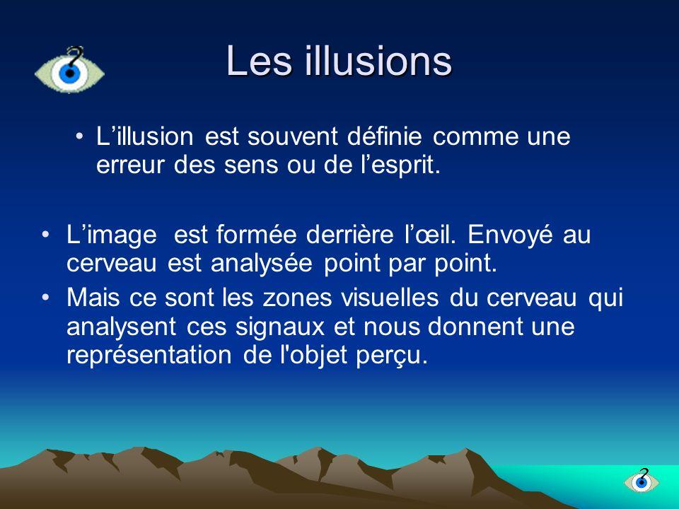 Les illusions L'illusion est souvent définie comme une erreur des sens ou de l'esprit.