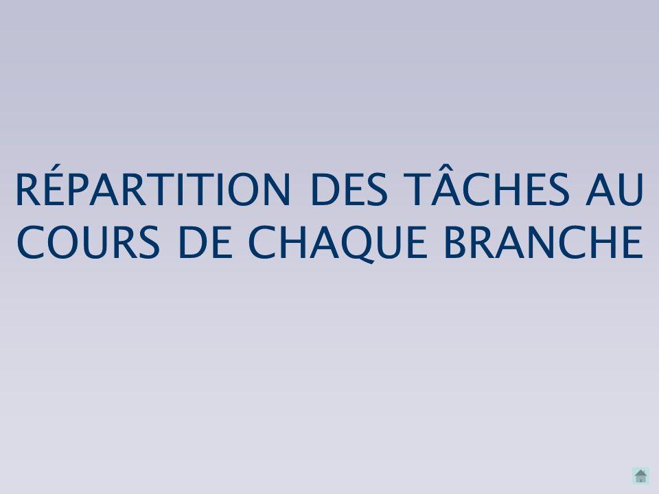 RÉPARTITION DES TÂCHES AU COURS DE CHAQUE BRANCHE