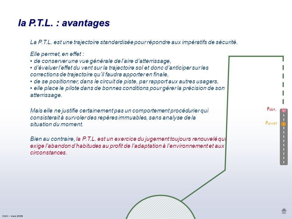 la P.T.L. : avantages La P.T.L. est une trajectoire standardisée pour répondre aux impératifs de sécurité.