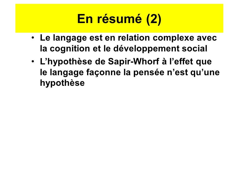 En résumé (2) Le langage est en relation complexe avec la cognition et le développement social.