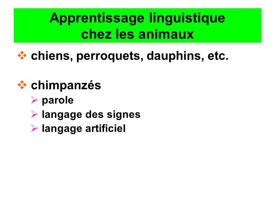Apprentissage linguistique chez les animaux