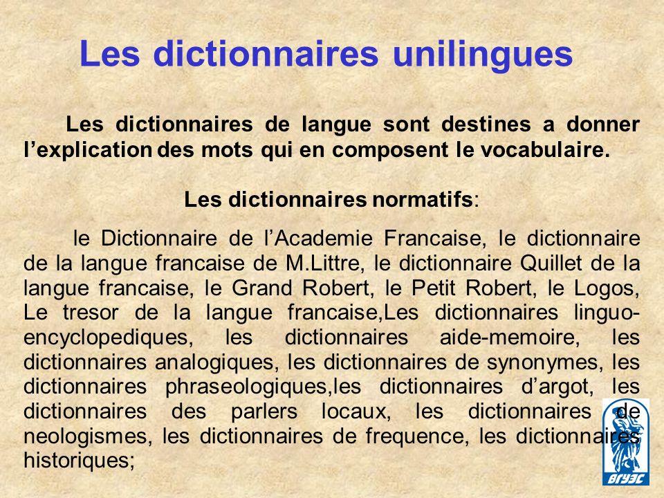 Les dictionnaires unilingues
