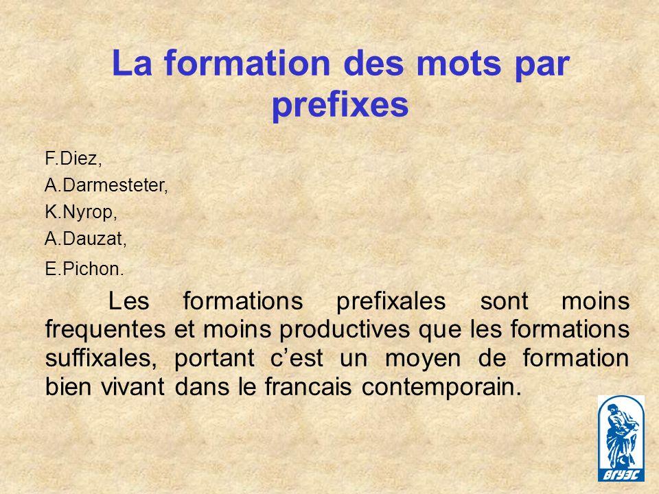 La formation des mots par prefixes