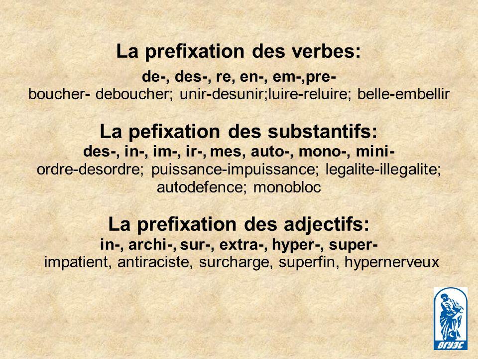 La prefixation des verbes: