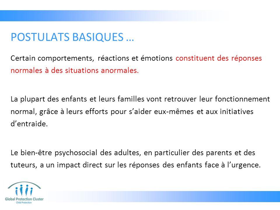 POSTULATS BASIQUES … Certain comportements, réactions et émotions constituent des réponses normales à des situations anormales.