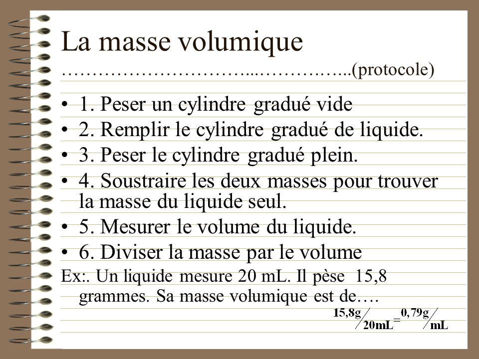 La masse volumique …………………………...……….…...(protocole)