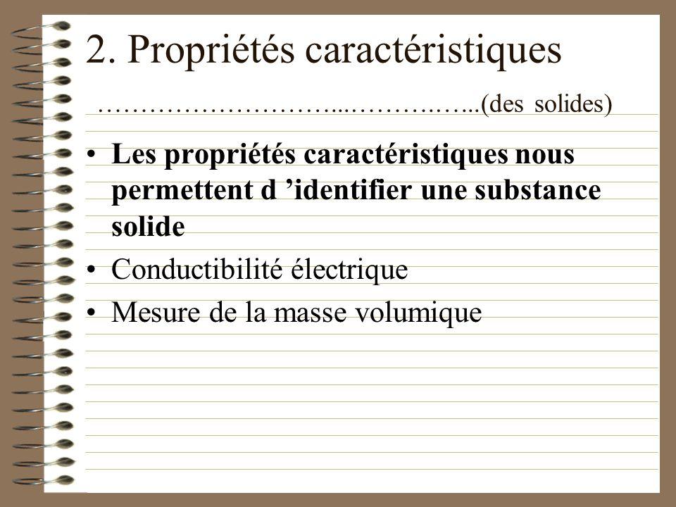 2. Propriétés caractéristiques ………………………...……….…...(des solides)