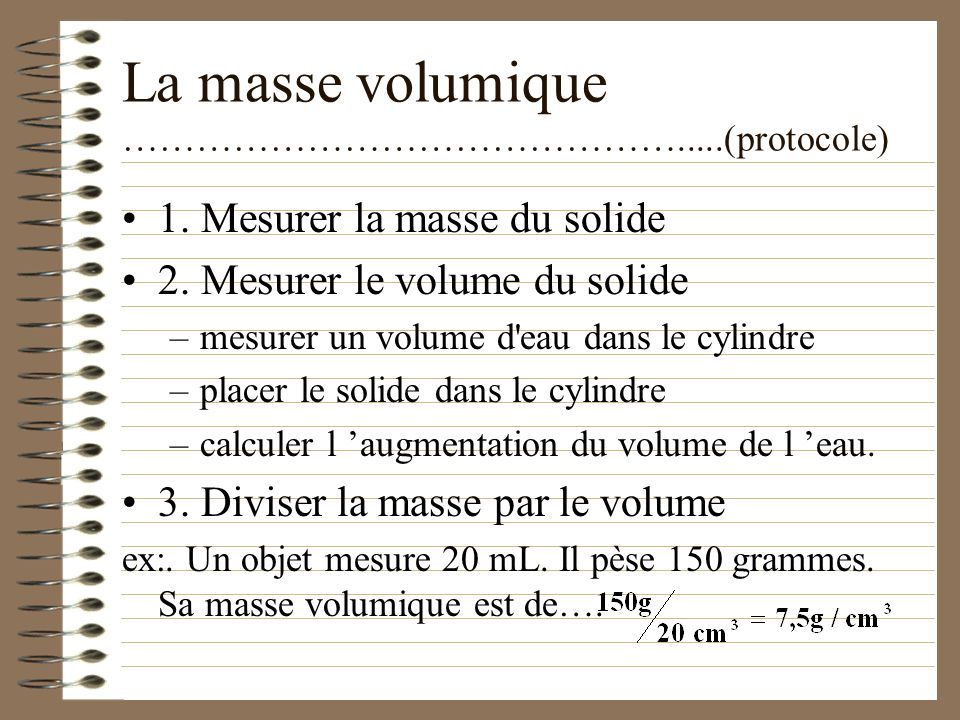 La masse volumique ……………………………………….....(protocole)