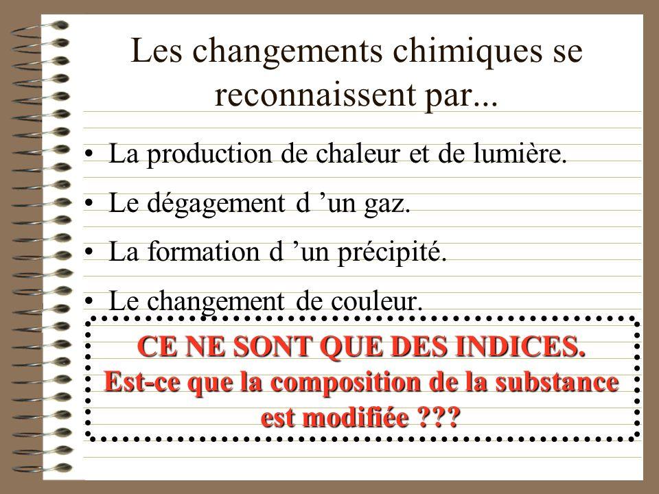 Les changements chimiques se reconnaissent par...