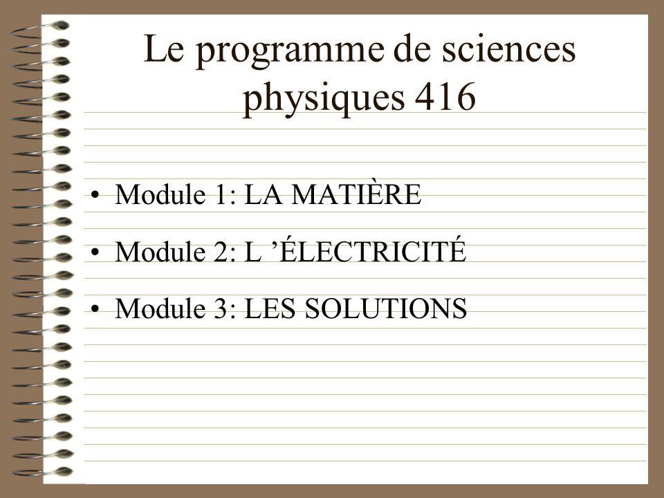 Le programme de sciences physiques 416