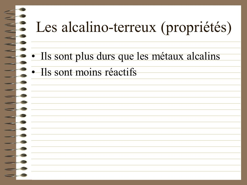 Les alcalino-terreux (propriétés)