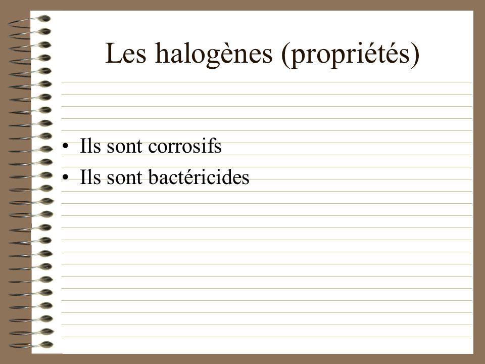 Les halogènes (propriétés)