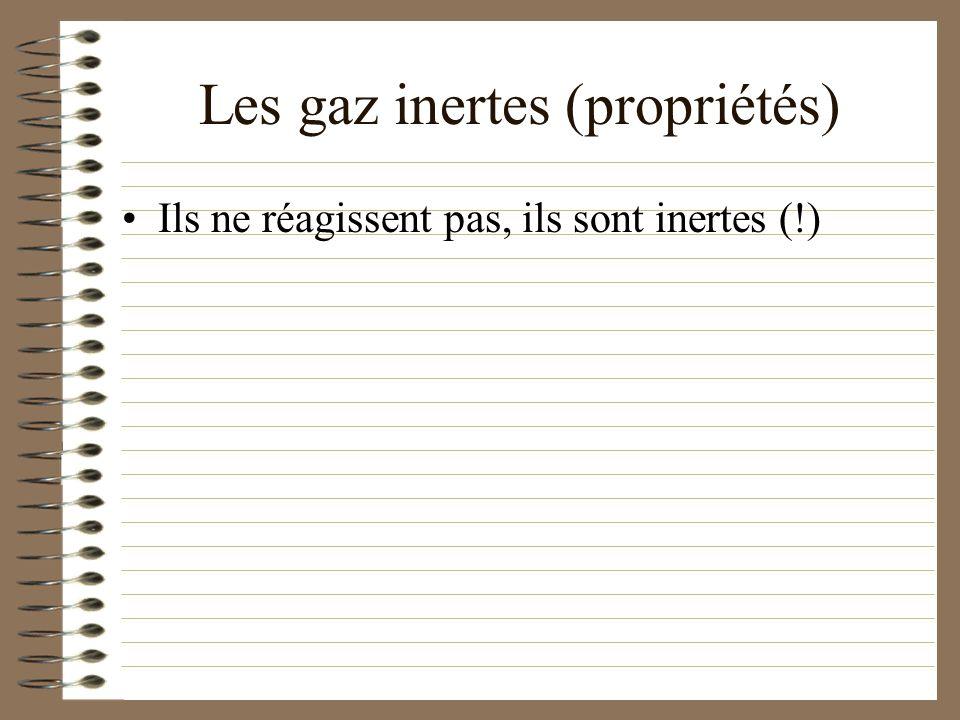 Les gaz inertes (propriétés)