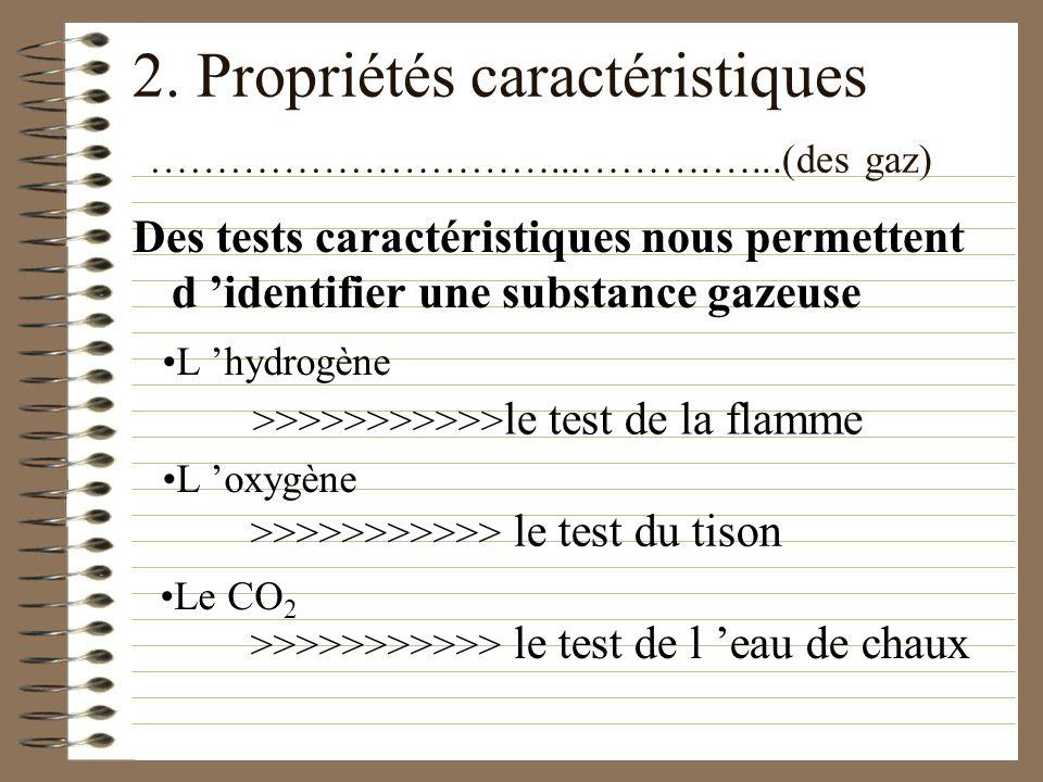 2. Propriétés caractéristiques …………………………...……….…...(des gaz)