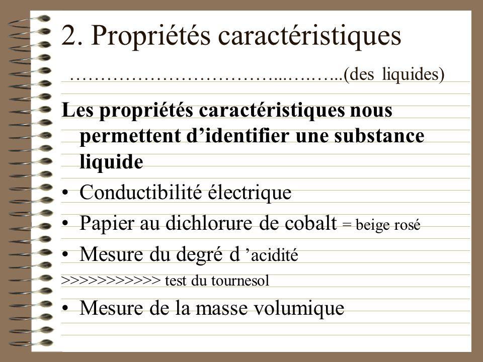 2. Propriétés caractéristiques ……………………………...….…...(des liquides)