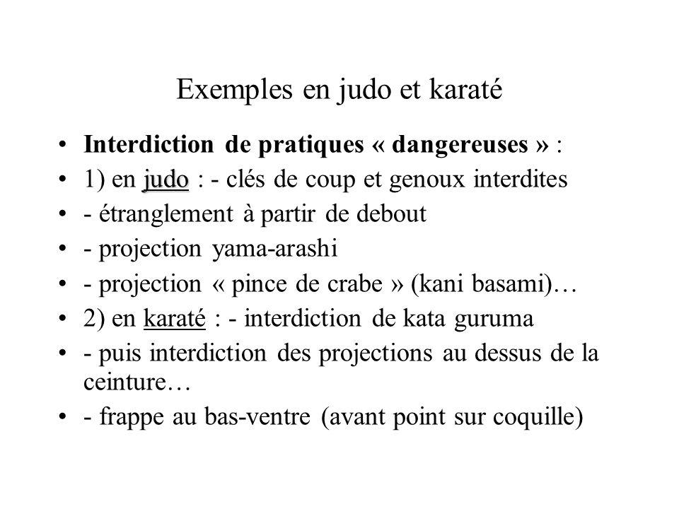 Exemples en judo et karaté
