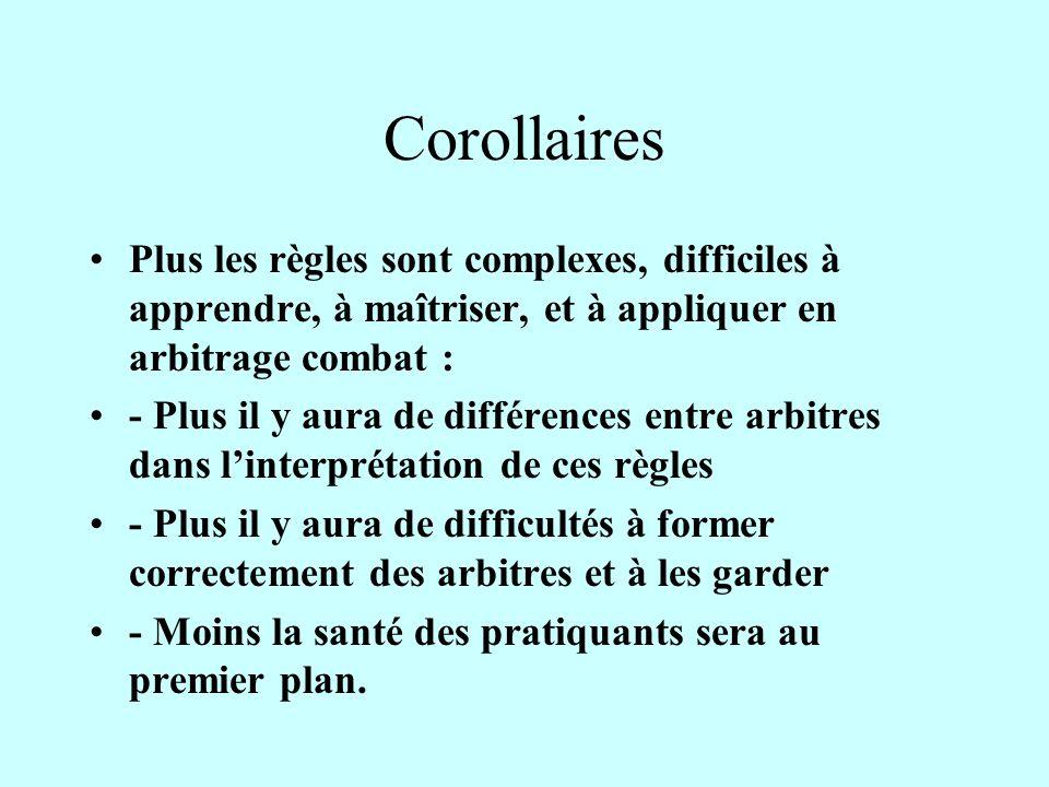 Corollaires Plus les règles sont complexes, difficiles à apprendre, à maîtriser, et à appliquer en arbitrage combat :