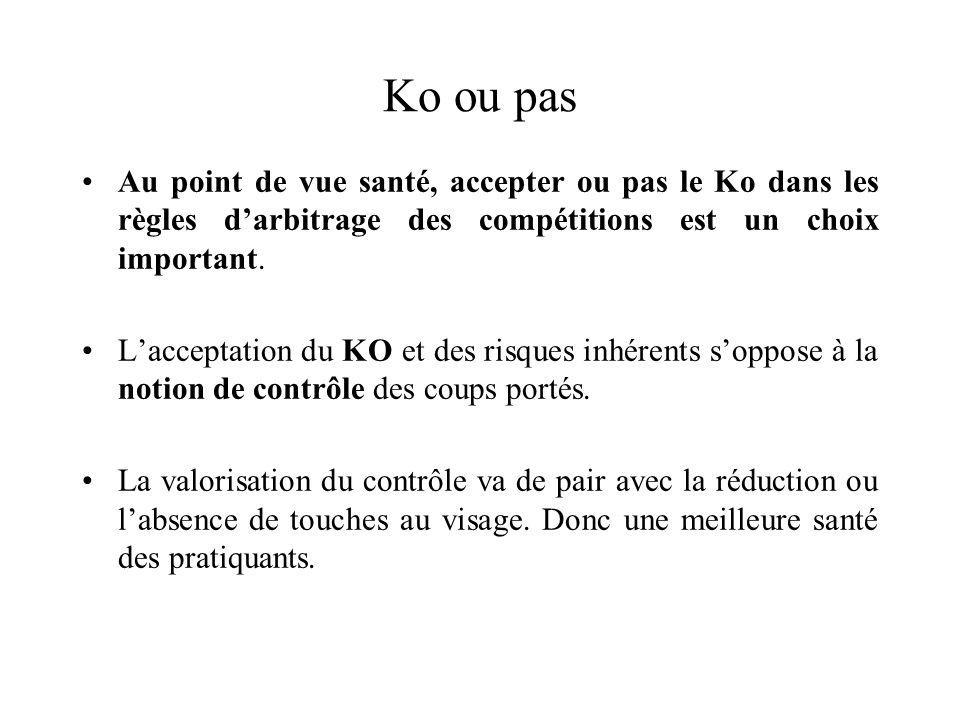 Ko ou pas Au point de vue santé, accepter ou pas le Ko dans les règles d'arbitrage des compétitions est un choix important.