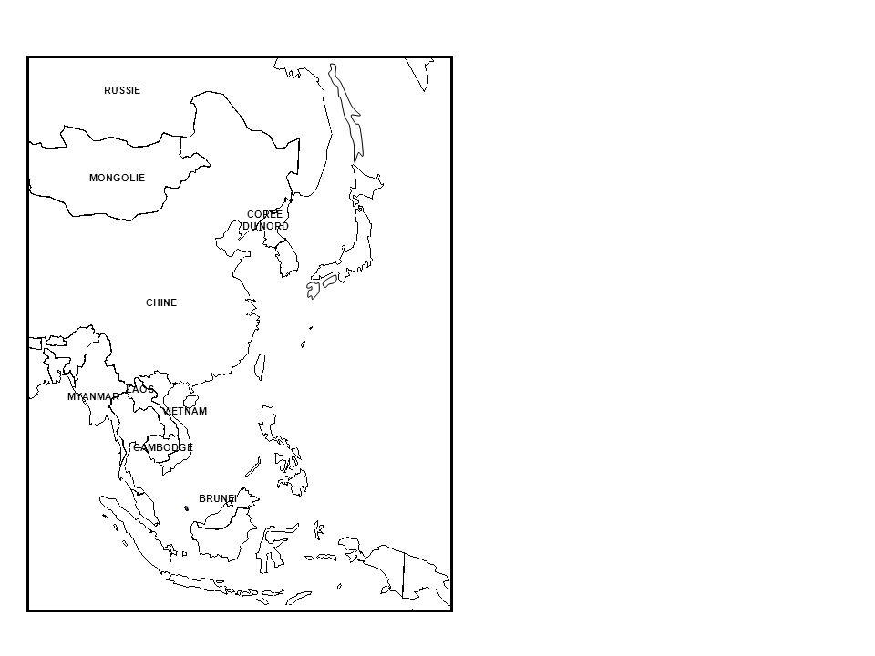 RUSSIE MONGOLIE COREE DU NORD CHINE LAOS MYANMAR VIETNAM CAMBODGE BRUNEI
