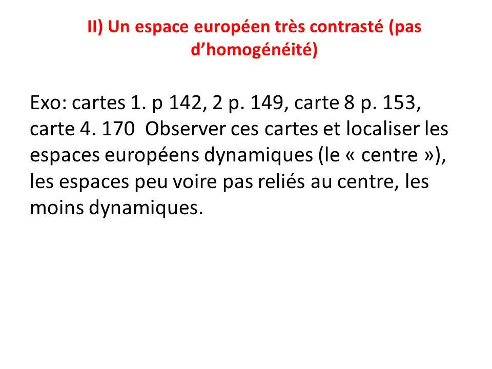II) Un espace européen très contrasté (pas d'homogénéité)