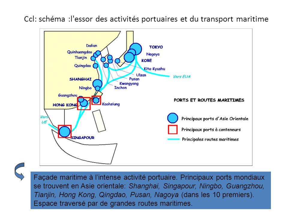 Ccl: schéma :l essor des activités portuaires et du transport maritime