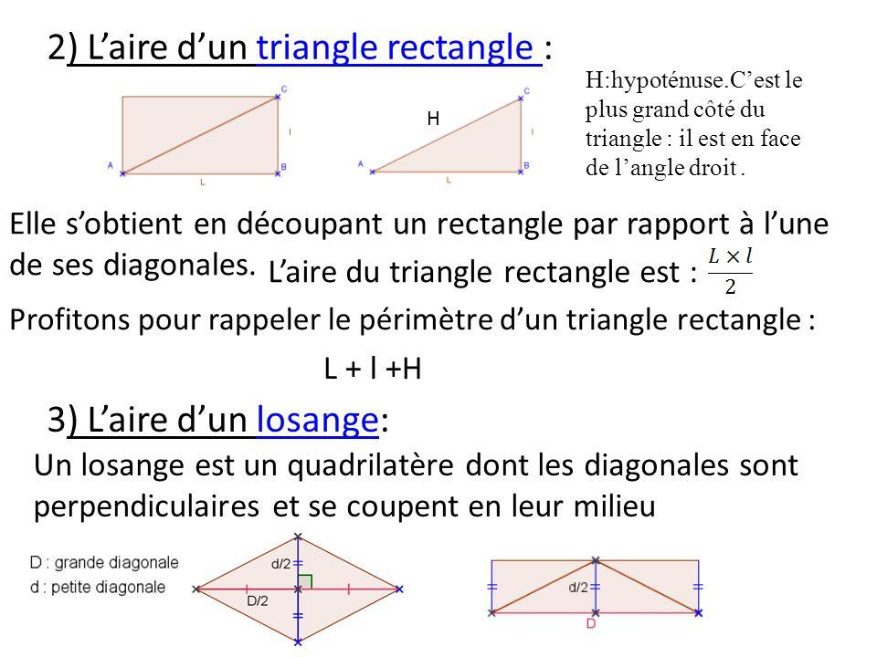 2) L'aire d'un triangle rectangle :