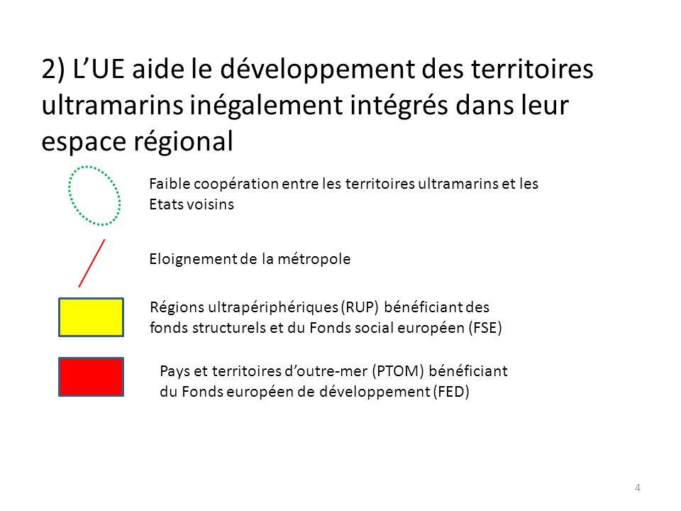 2) L'UE aide le développement des territoires ultramarins inégalement intégrés dans leur espace régional