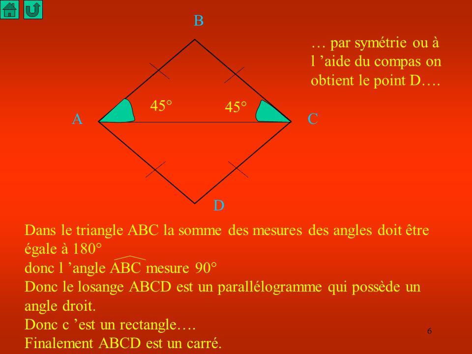 B … par symétrie ou à l 'aide du compas on obtient le point D…. 45° 45° A. C. D.