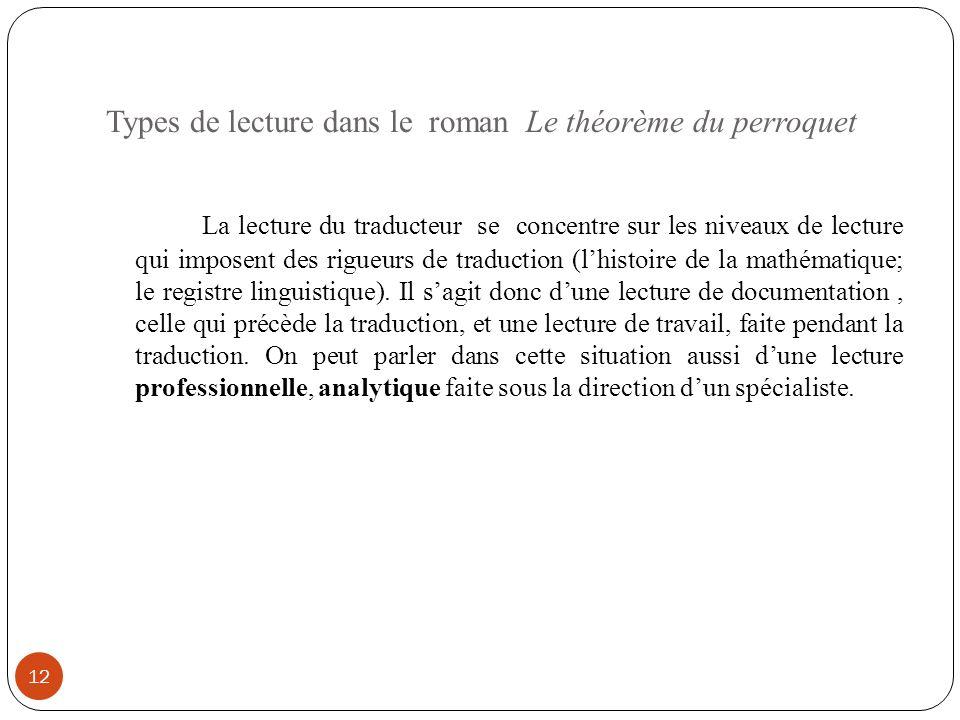 Types de lecture dans le roman Le théorème du perroquet