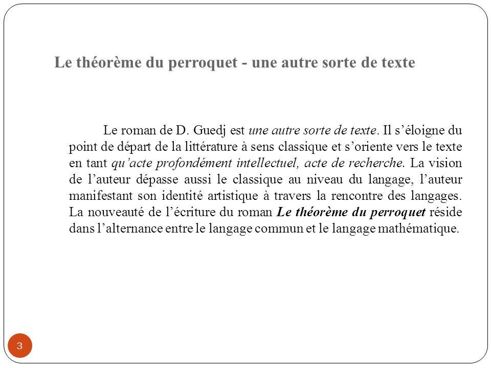 Le théorème du perroquet - une autre sorte de texte