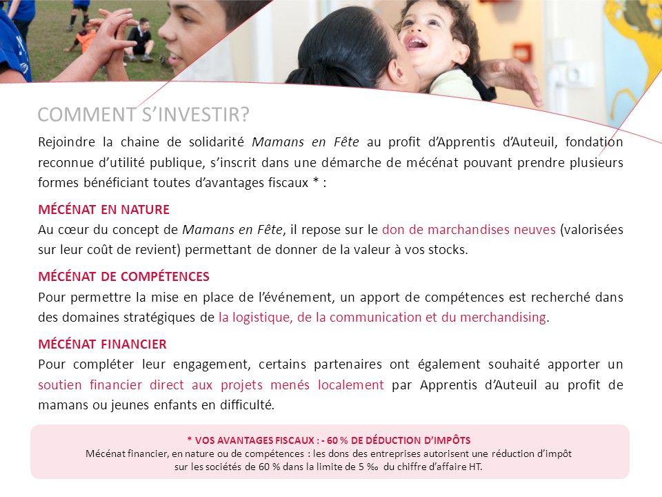 * VOS AVANTAGES FISCAUX : - 60 % DE DÉDUCTION D'IMPÔTS