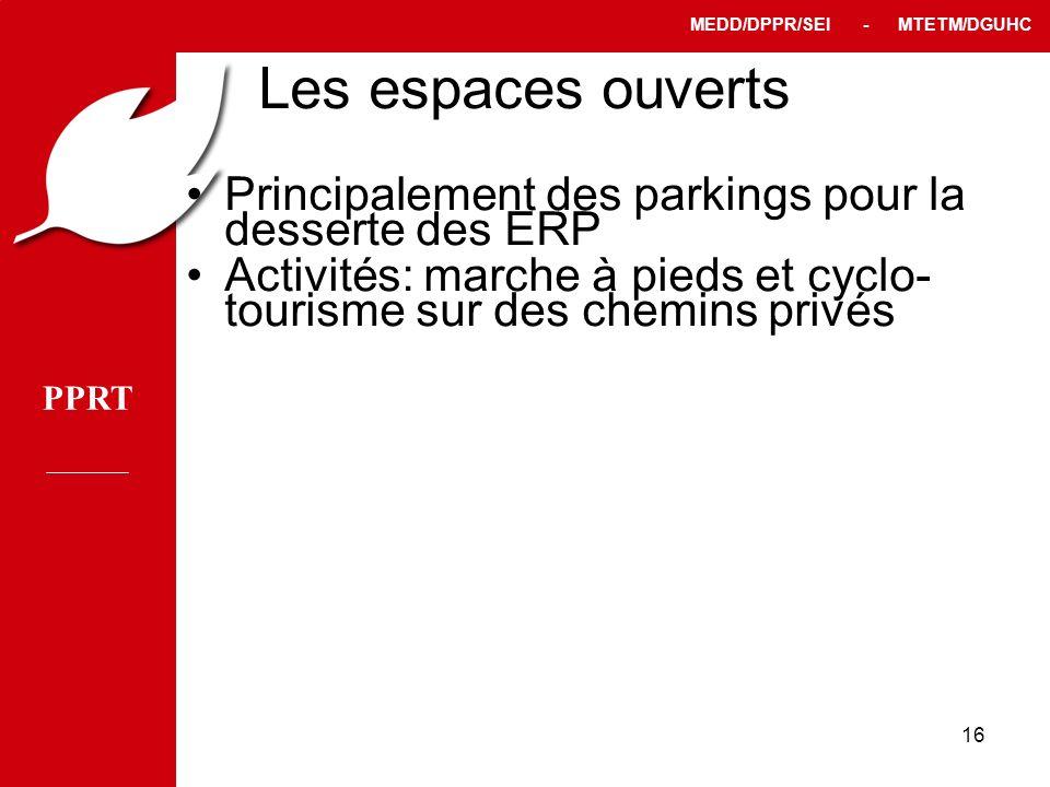 Les espaces ouverts Principalement des parkings pour la desserte des ERP.